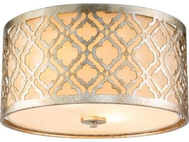 Lucas McKearn Arabella Antique Silver 2-light 16'' Wide Glass Flush Mount Light LCKGNARABELLAFS