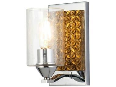 Lucas McKearn Arcadia Polished Chrome / Antiqued Gold Leaf 1-light Glass Wall Sconce LCKBB90587PC1B2G