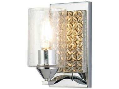 Lucas McKearn Arcadia Polished Chrome / Antiqued Silver Leaf 1-light Glass Wall Sconce LCKBB90587PC1B2S