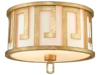 Lucas McKearn Lemuria Distressed Gold 2-light 15'' Wide Flush Mount Light LCKGNLEMURIAF