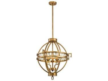 Lucas McKearn Lemuria Distressed Gold 3-light 22'' Wide Mini Chandelier LCKGNLEMURIA3PA