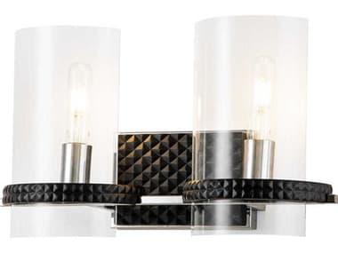 Lucas McKearn Mazant Matte Black / Polished Chrome 2-light Glass Vanity Light LCKBB915982