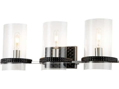 Lucas McKearn Mazant Matte Black / Polished Chrome 3-light Glass Vanity Light LCKBB915983