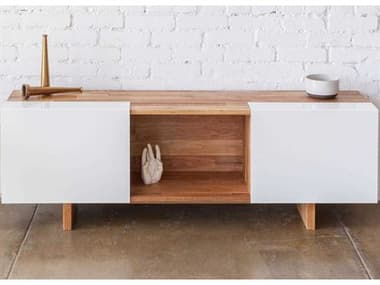 Mash Studios Laxseries Natural Linseed Oil / White Powder Coat 58'' Wide Rectangular Console Table MSHLAX581314WBWC
