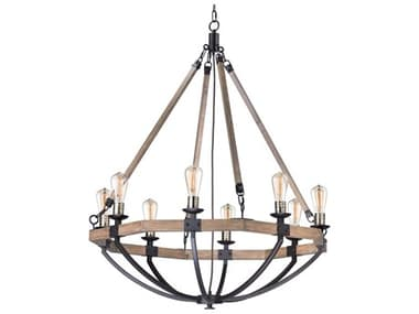 Maxim Lighting Lodge Weathered Oak / Bronze Eight-Light 38'' Wide  Chandelier MX20338WOBZ