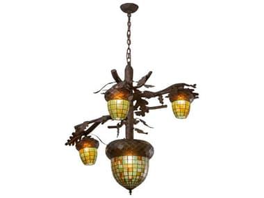 Meyda Acorn Branch Ruby / Amber Green Chocolate Grey 4-light 48'' Wide Glass Rustic Lodge Tiffany Chandelier MY216420