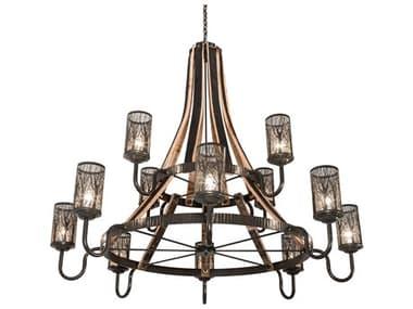 Meyda Barrel Stave Natural Wood / Timeless Bronze 12-light 65'' Wide Chandelier MY219854