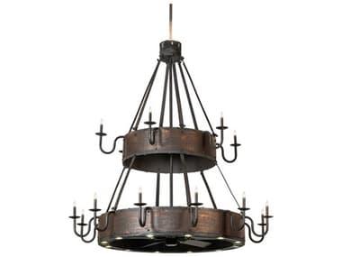 Meyda Costello Black / Blackened Textured Copper 18-Light 74'' Wide LED Indoor / Outdoor Ceiling Fan MY227743