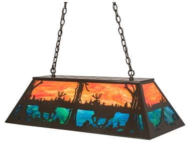Meyda Deer At Lake Timeless Bronze 6-light 40'' Wide Glass Rustic Lodge Island Light MY219886