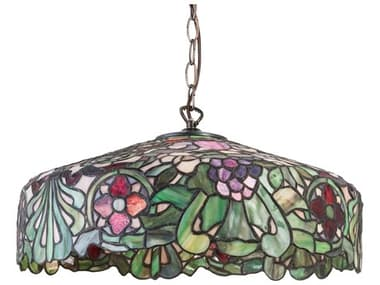 Meyda Duffner & Kimberly Italian Renaissance Satin Brass 1-light 18'' Wide Glass Tiffany Pendant MY31096