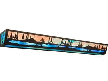 Meyda Elk & Black Bear Timeless Bronze 8-light Glass Rustic Lodge Vanity Light MY211730