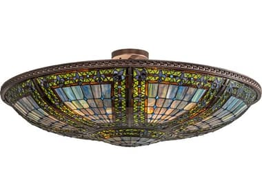 Meyda Fleur-de-lis Mahogany Bronze 6-light 40'' Wide Glass Tiffany Semi-Flush Mount MY213351