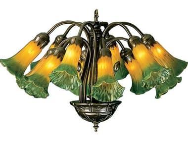 Meyda Tiffany Amber & Green Pond Lily 12-Light 20 Wide Mini Chandelier MY15997