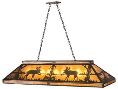 Meyda 61'' Wide Glass Rustic Lodge Island Light MY70579