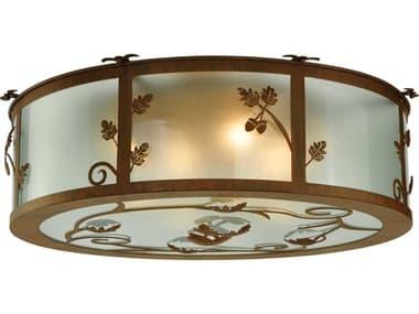 Meyda Tiffany Oak Leaf & Acorn Four-Light Flush Mount Light MY131220