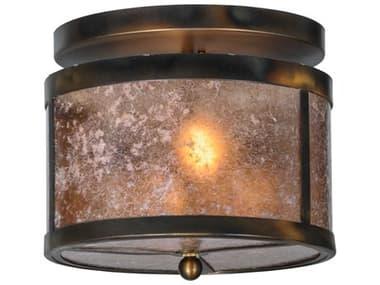 Meyda Tiffany Smythe Craftsman Silver Mica Two-Light Flush Mount Light MY147377