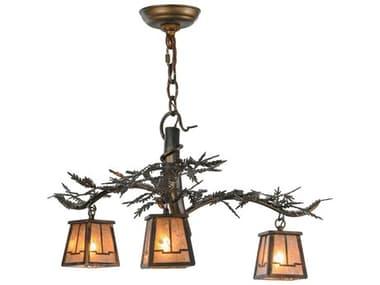 Meyda Tiffany Pine Branch Valley View Three-Light 24 Wide Mini Chandelier MY147319