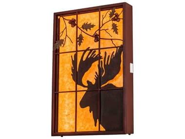 Meyda Moose Red Rust LED Rustic Lodge Backlit Window MY216919