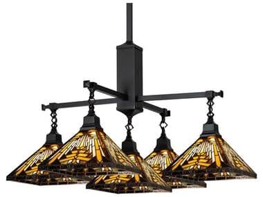 Meyda Nuevo Mission Craftsman Brown 5-light Glass Tiffany Outdoor Hanging Light MY231691