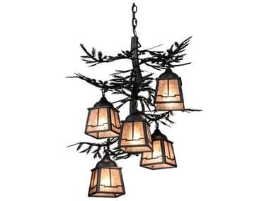 Meyda Pine Branch Gunmetal Gray 5-light 28'' Wide Rustic Lodge Medium Chandelier MY225365