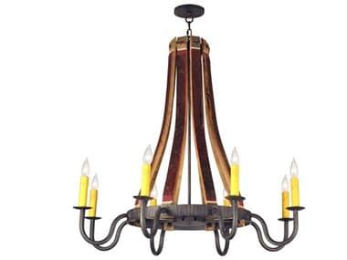 Meyda Tiffany Barrel Stave Madera Eight-Light 44 Wide Chandelier MY132914