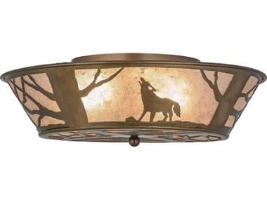 Meyda Tiffany Northwood's Wolf On The Loose Four-Light Flush Mount Light MY10010