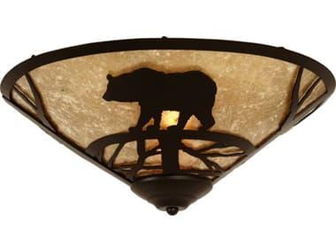 Meyda Tiffany Bear On The Loose Two-Light Flush Mount Light MY112458