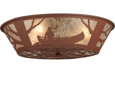 Meyda Tiffany Canoe At Lake Four-Light Flush Mount Light MY127250