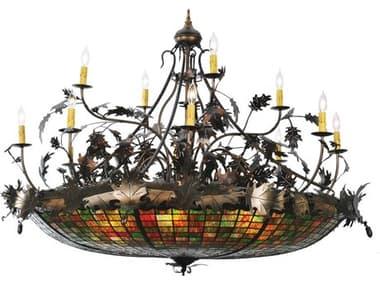 Meyda Tiffany Greenbriar Oak 12 Arm 15-Light 50 Wide Grand Chandelier MY100424