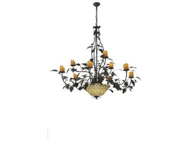 Meyda Tiffany Diamond & Jewel Oak Leaf 9 Arm 12-Light 63 Wide Grand Chandelier MY108705