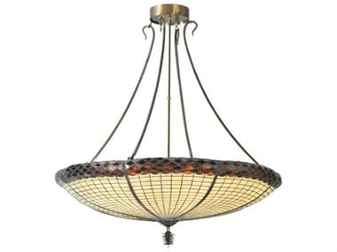 Meyda Tiffany Greenbriar Oak Inverted Six-Light Pendant Light MY105628