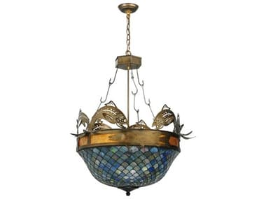 Meyda Tiffany Catch of The Day Fishscale Four-Light Inverted Pendant Light MY124101