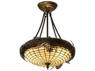 Meyda Tiffany Greenbriar Oak Acorn Three-Light Semi-Flush Mount Light MY12697