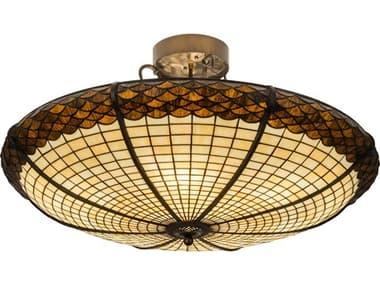 Meyda 36'' Wide Glass Tiffany Semi-Flush Mount MY181915