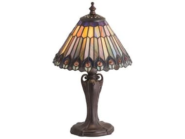 Meyda Tiffany Jeweled Peacock Coral / Sunflower Blue Violet Chocolate 1-light Glass Table Lamp MY191968