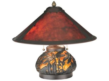 Meyda Tiffany Van Erp Amber Mica Lighted Base Red Table Lamp MY118681
