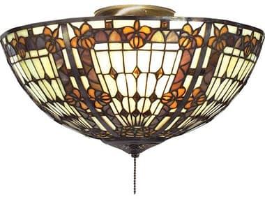 Meyda Tiffany Fleur-De-Lis Three-Light Flush Mount Light MY95271