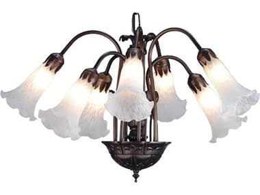 Meyda Tiffany White Pond Lily Seven-Light 20 Wide Mini-Chandelier MY11621