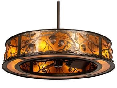 Meyda Whispering Pines Antique Copper 8-Light 45'' Wide Indoor / Outdoor Ceiling Fan MY228668