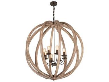 Meyda Woodward Bronze / Natural Wood 8-light 46'' Wide Chandelier MY218452
