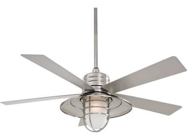 Minka-Aire Rainman LED Brushed Nickel Wet One-Light 54'' Wide Outdoor Ceiling Fan with Silver Blade MKAF582LBNW