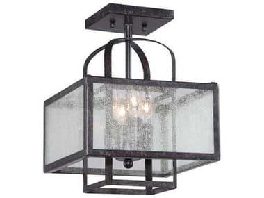 Minka Lavery Camden Square Aged Charcoal 11'' Wide Glass Semi-Flush Mount MGO4876283