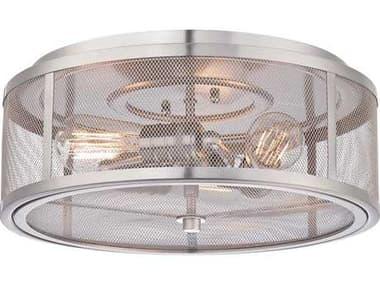 Minka Lavery Downtown Edison Brushed Nickel 15'' Wide Industrial Flush Mount Light MGO413384
