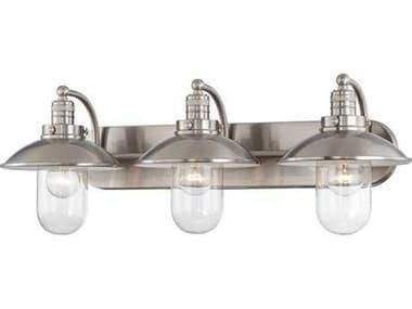 Minka Lavery Downtown Edison Brushed Nickel Glass Industrial Vanity Light MGO513384