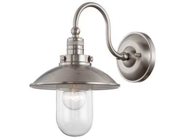 Minka Lavery Downtown Edison Brushed Nickel Glass Industrial Wall Sconce MGO7116284