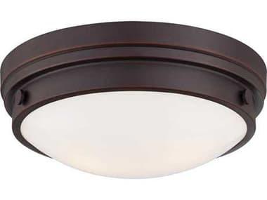 Minka Lavery Lathan Bronze 13'' Wide Glass Flush Mount Light MGO823167