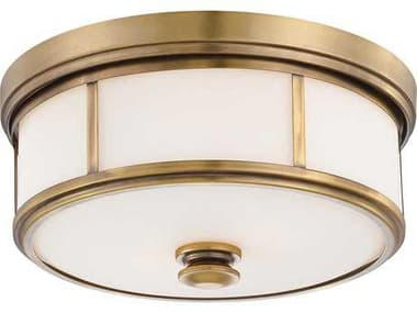Minka Lavery Harbour Point Liberty Gold 13'' Wide Glass Flush Mount Light MGO4365249