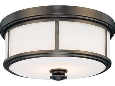 Minka Lavery Harvard Court Bronze 13'' Wide Glass Flush Mount Light MGO4365281