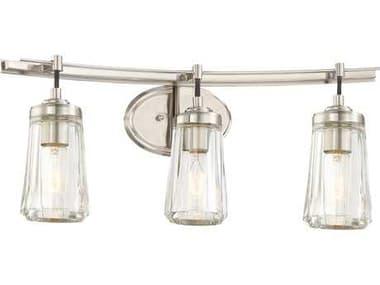 Minka Lavery Poleis Brushed Nickel Industrial Glass Vanity Light MGO230384