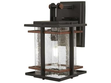 Minka Lavery San Marcos Black / Antique Copper Accents Glass Outdoor Wall Light MGO7249168